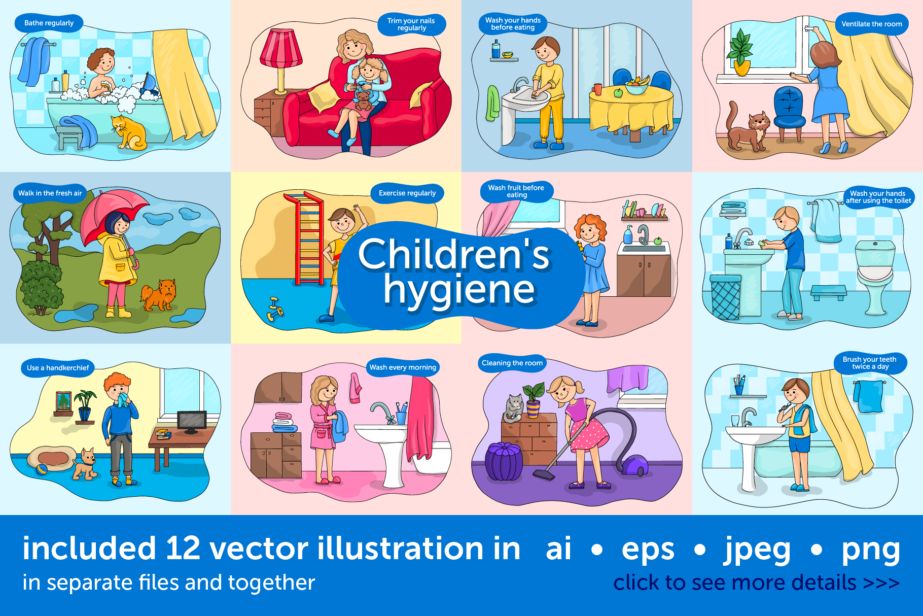 Download Free Baby Hygiene Vector Illustration Set Graphic By Zmievska Ksenia for Cricut Explore, Silhouette and other cutting machines.