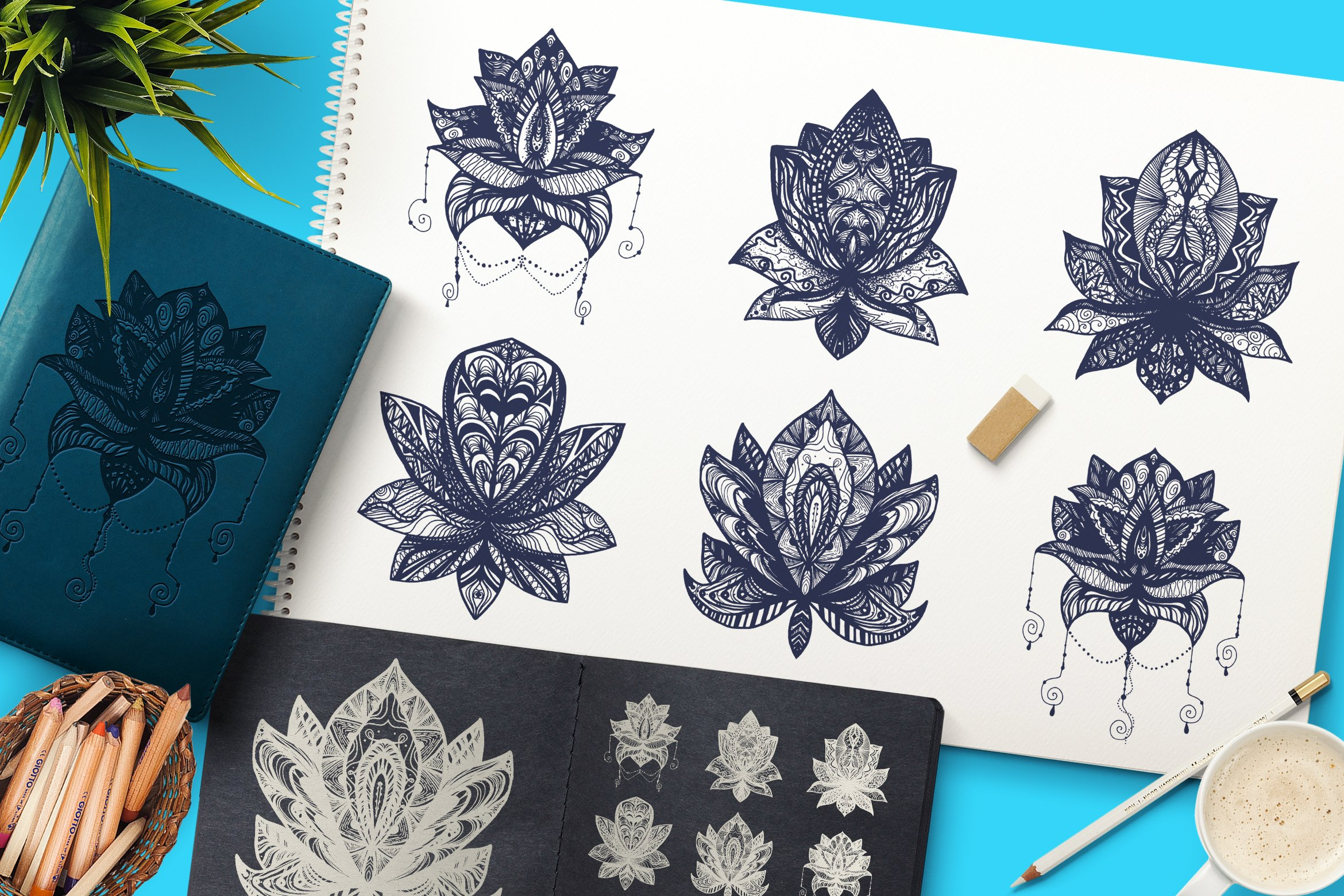 Download Free Boho Mandala Lotuses Graphic By Barsrsind Creative Fabrica for Cricut Explore, Silhouette and other cutting machines.