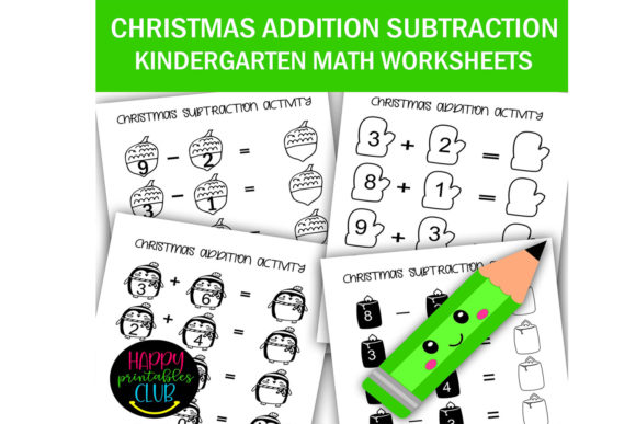 Print on Demand: Christmas Addition Subtraction Worksheet Graphic K By Happy Printables Club