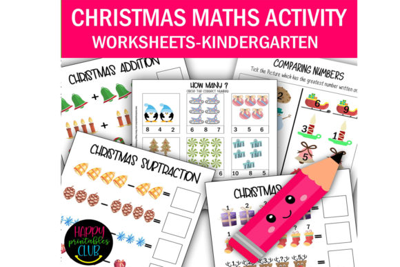 Print on Demand: Christmas Math Activity Worksheets Graphic K By Happy Printables Club
