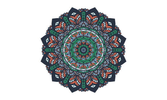 Download Free Colorful Flower With Mandala Style Graphic By Be Young for Cricut Explore, Silhouette and other cutting machines.