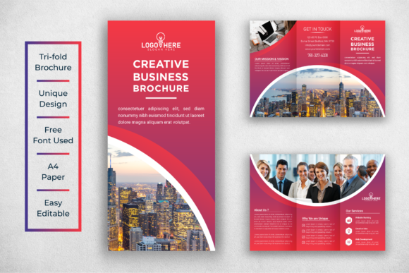 Download Free Corporate Tri Fold Brochure Design Graphic By Ju Design for Cricut Explore, Silhouette and other cutting machines.