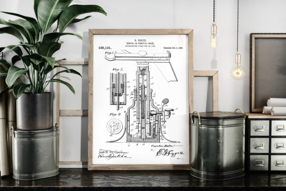 Download Free Dental Chair Patent Drawing Art Print Graphic By Antique Pixls for Cricut Explore, Silhouette and other cutting machines.