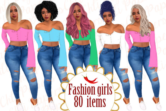 Fashion Afro Girl Clipart  Graphic Illustrations By ChiliPapers