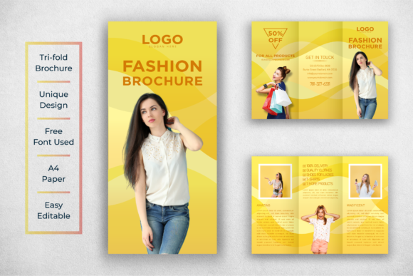 Download Free Fashion Tri Fold Design Template Graphic By Ju Design for Cricut Explore, Silhouette and other cutting machines.