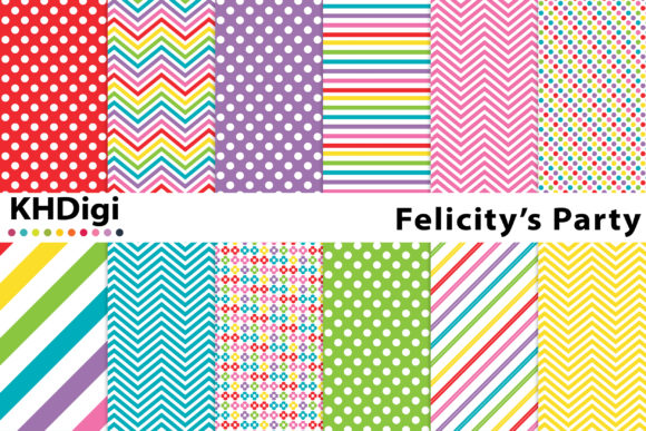 Print on Demand: Felicity's Party Digital Paper Graphic Backgrounds By KHDigi