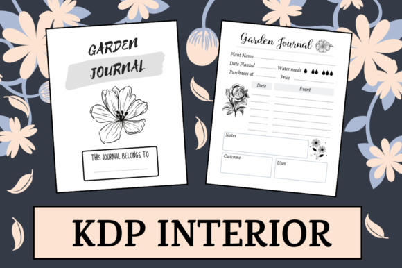 Download Free Garden Journal Kdp Interior Graphic By Hungry Puppy Studio for Cricut Explore, Silhouette and other cutting machines.