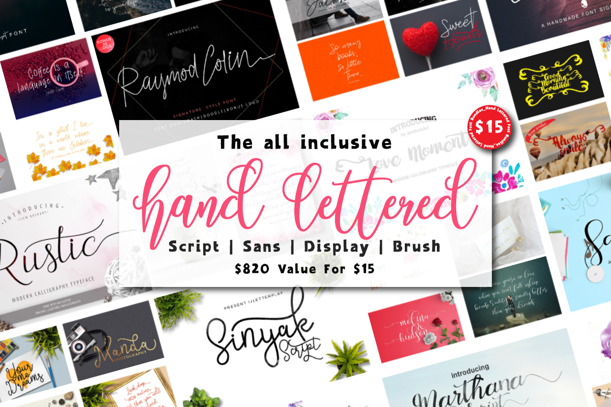 Hand Lettered Font Bundle Free Download
