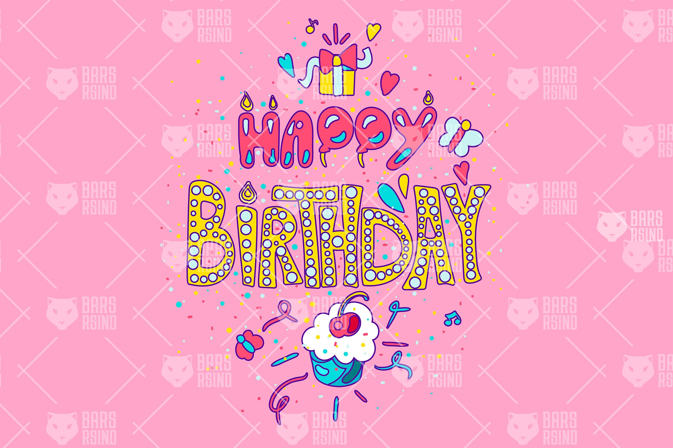 Download Free Happy Birthday Typography Graphic By Barsrsind Creative Fabrica for Cricut Explore, Silhouette and other cutting machines.