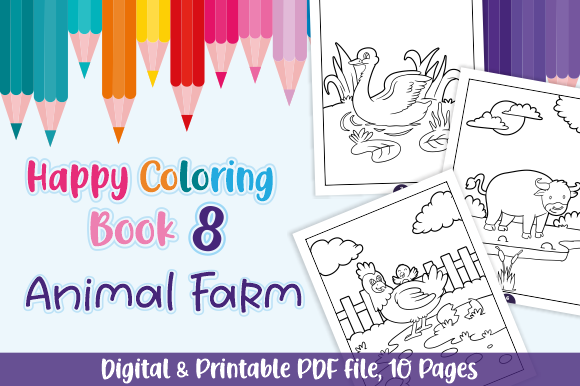Download Free Happy Coloring Book 8 Animal Farm Graphic By Momentos Crafter SVG Cut Files