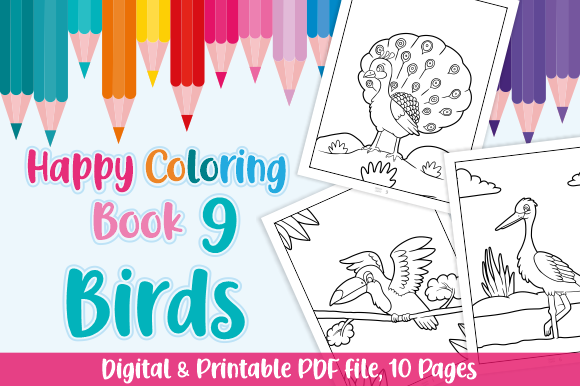 Print on Demand: Happy Coloring Book 9 - Birds Graphic Coloring Pages & Books Kids By Momentos Crafter
