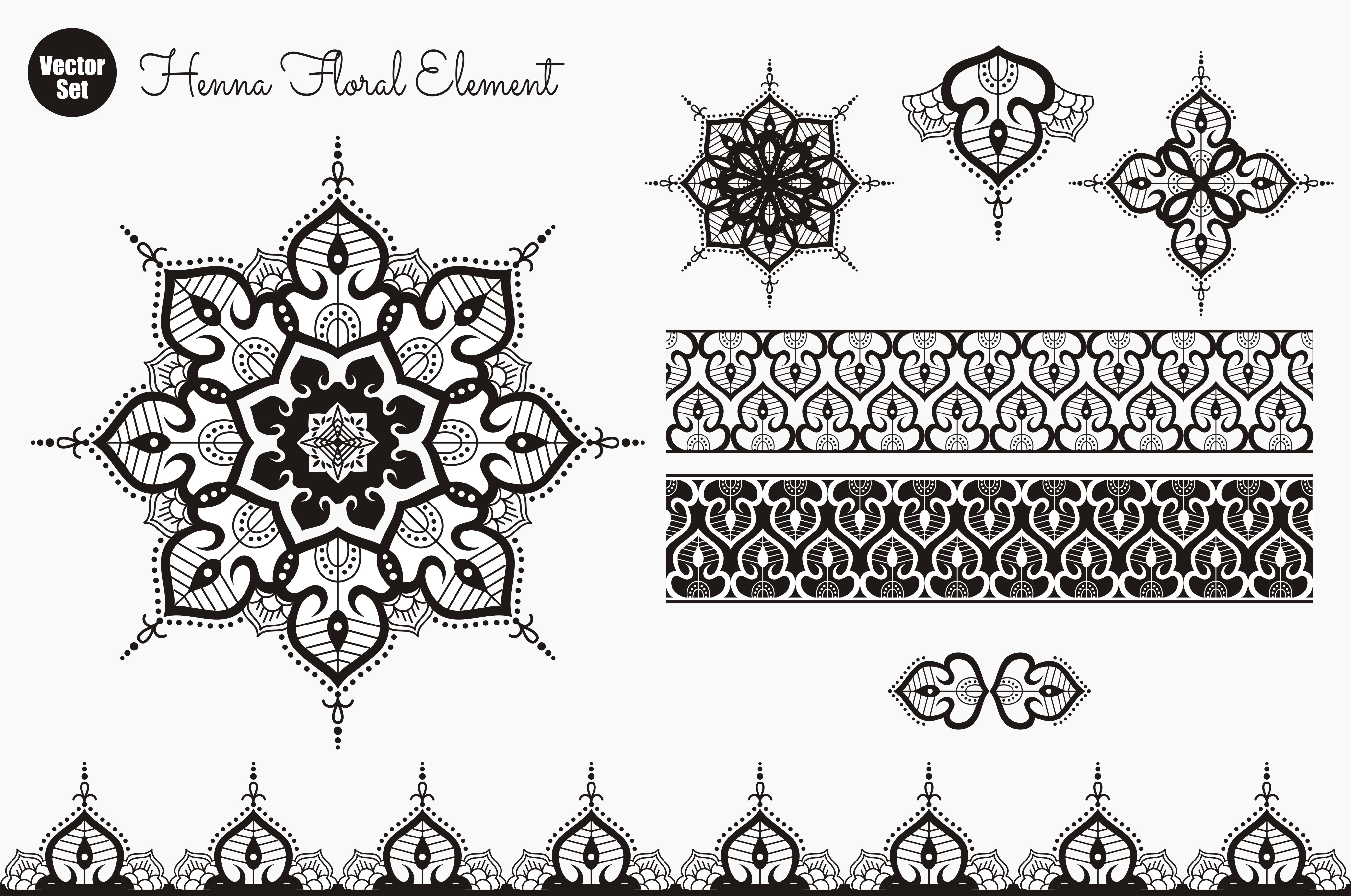 Download Free Henna Floral Element Graphic By Ahsancomp Studio Creative Fabrica SVG Cut Files