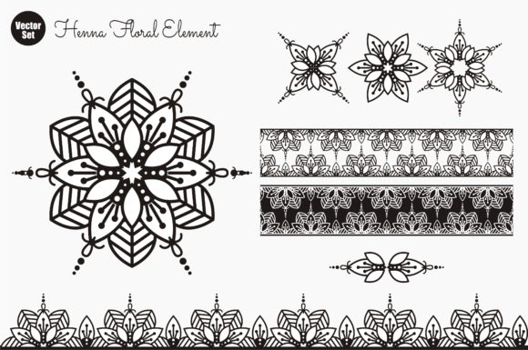Download Free Henna Floral Element Graphic By Ahsancomp Studio Creative Fabrica for Cricut Explore, Silhouette and other cutting machines.