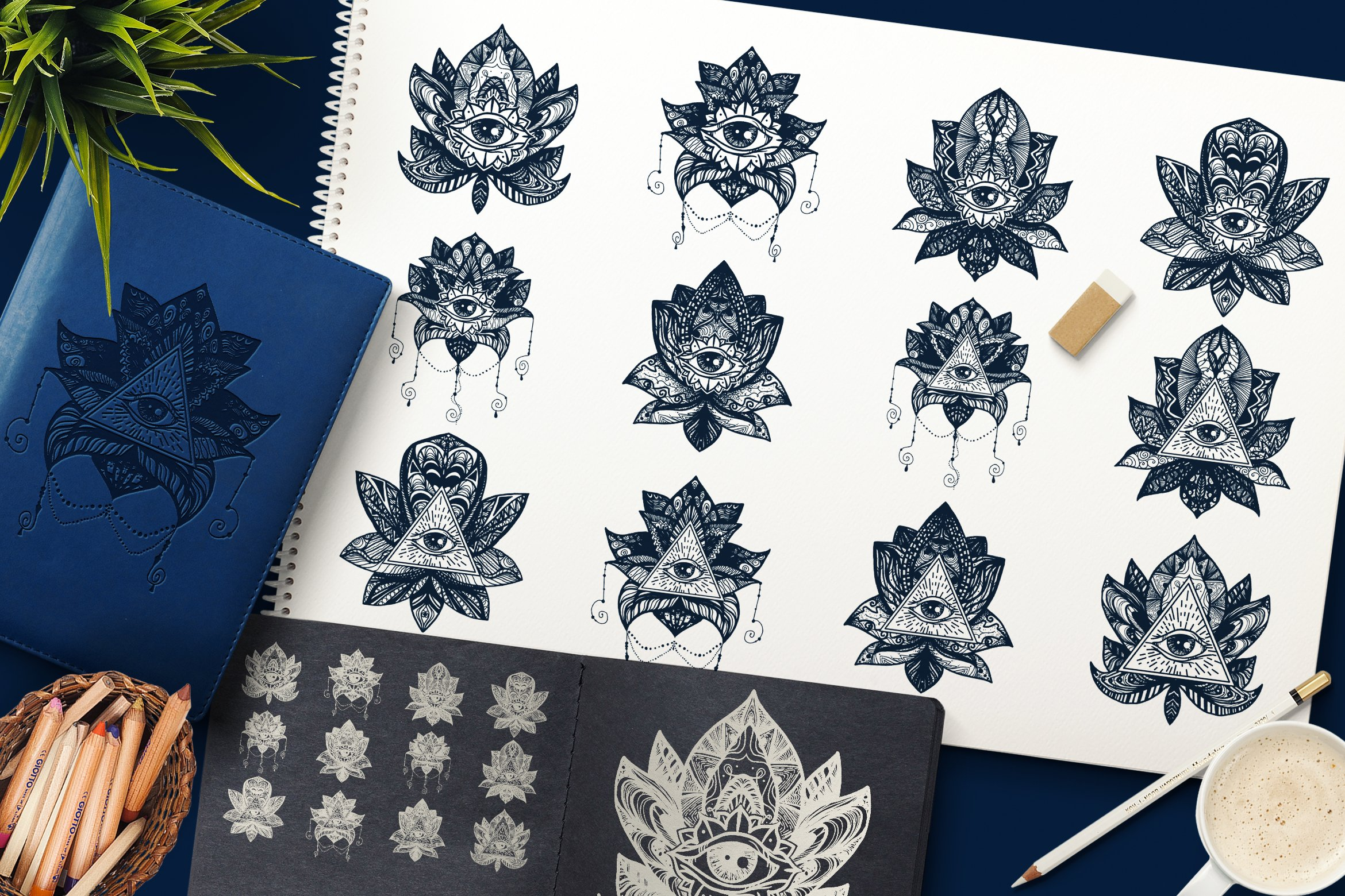 Download Free Magic Lotus With Providence Eye Graphic By Barsrsind Creative for Cricut Explore, Silhouette and other cutting machines.