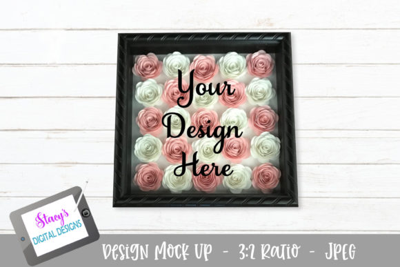 Mock Up - Rolled Flowers - Pink/whi Graphic Product Mockups By stacysdigitaldesigns