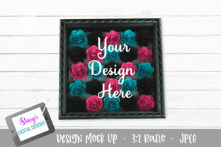 Mock Up - Rolled Flowers - Pink/teal/blk Graphic Product Mockups By stacysdigitaldesigns