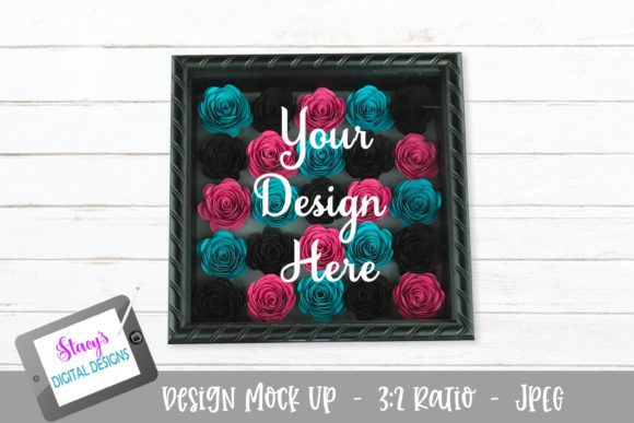 Download Free Mock Up Rolled Flowers Pink Teal Blk Graphic By for Cricut Explore, Silhouette and other cutting machines.