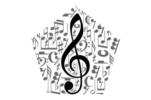 Musical Notes Staff With Polygon Shape Graphic By Arief Sapta