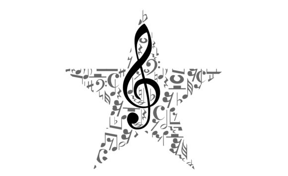 Download Free Musical Notes Staff With Star Shape Graphic By Arief Sapta Adjie for Cricut Explore, Silhouette and other cutting machines.