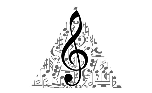 Download Free Musical Notes Staff With Triangle Shape Graphic By Arief Sapta for Cricut Explore, Silhouette and other cutting machines.