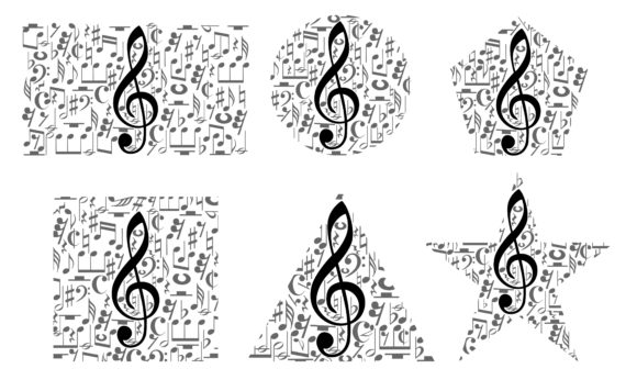 Download Free Musical Notes Staff With Various Forms Graphic By Arief Sapta for Cricut Explore, Silhouette and other cutting machines.