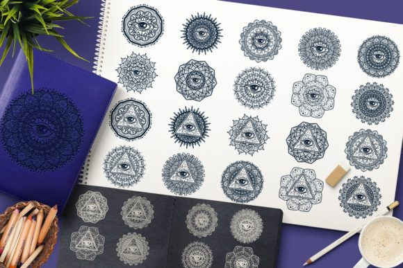 Print on Demand: Mystical Mandala with Eye Graphic Illustrations By barsrsind
