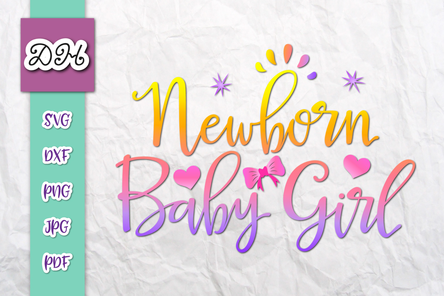 Download Free Newborn Baby Girl Sign Print Cut Files Graphic By Digitals By for Cricut Explore, Silhouette and other cutting machines.