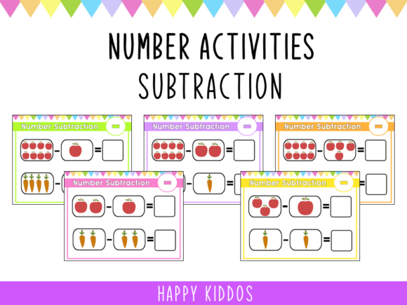 Number Activities: Subtraction Worksheet Graphic K By Happy Kiddos