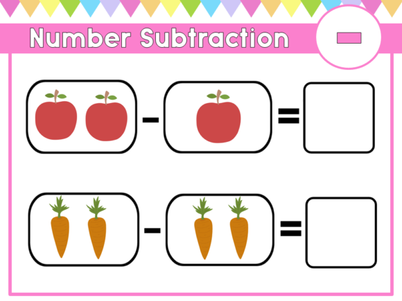 Download Free Number Activities Subtraction Worksheet Graphic By Happy Kiddos for Cricut Explore, Silhouette and other cutting machines.