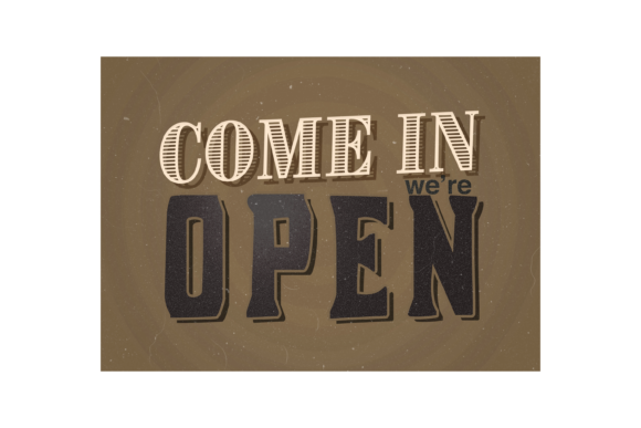 Open Sign Graphic Business By handriwork