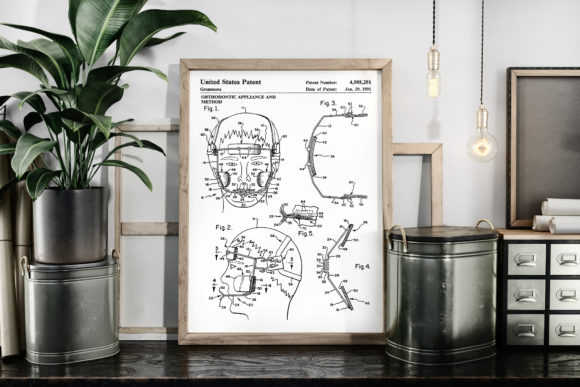 Print on Demand: Orthodontic Appliance Patent Image Graphic Illustrations By Antique Pixls