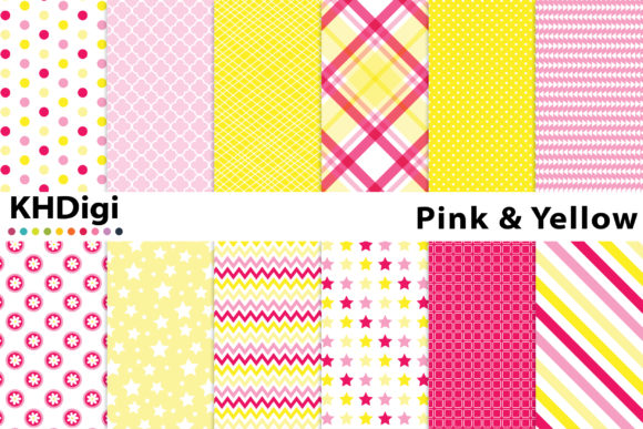 Download Free Pink Yellow Digital Paper Graphic By Khdigi Creative Fabrica for Cricut Explore, Silhouette and other cutting machines.