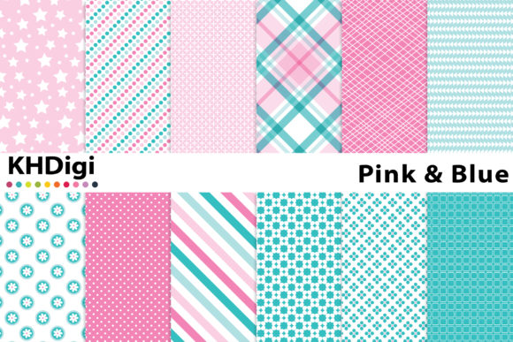 Download Free Pretty Pink Blue Digital Paper Graphic By Khdigi Creative for Cricut Explore, Silhouette and other cutting machines.