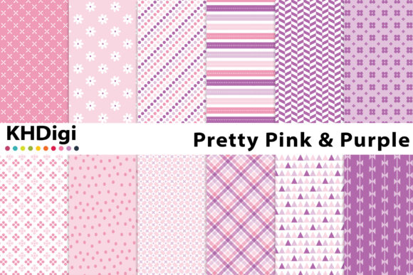 Download Free Pretty Pink Purple Digital Paper Graphic By Khdigi Creative for Cricut Explore, Silhouette and other cutting machines.
