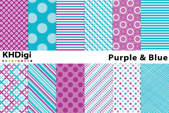 Download Free Purple Blue Digital Paper Graphic By Khdigi Creative Fabrica for Cricut Explore, Silhouette and other cutting machines.