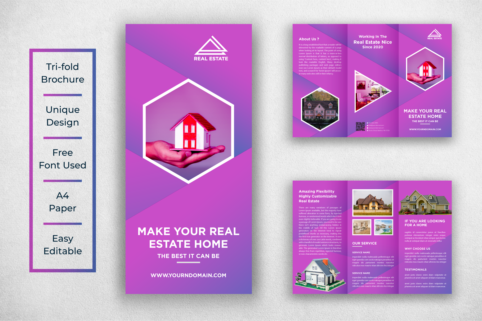 Download Free Real Estate Tri Fold Brochure Template Graphic By Ju Design for Cricut Explore, Silhouette and other cutting machines.