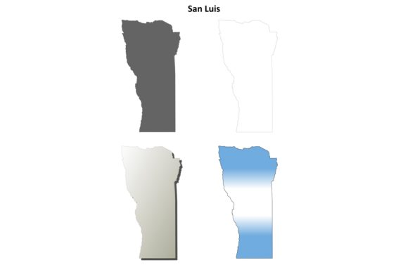 Download Free San Luis Outline Map Set Graphic By Davidzydd Creative Fabrica for Cricut Explore, Silhouette and other cutting machines.