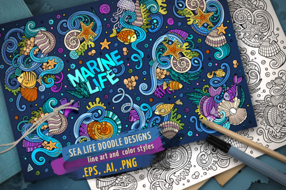 Sea Life Cartoon Doodle Designs Set Graphic Illustrations By BalabOlka