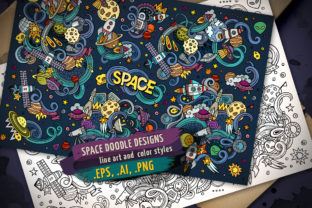 Space Cartoon Doodle Designs Set Graphic Illustrations By BalabOlka