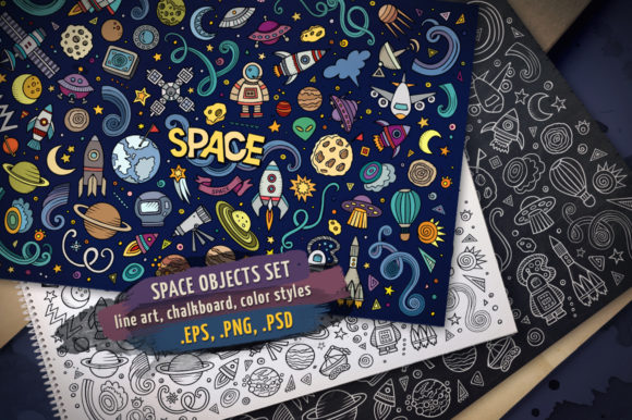 Space Doodles Objects & Elements Set Graphic Objects By BalabOlka