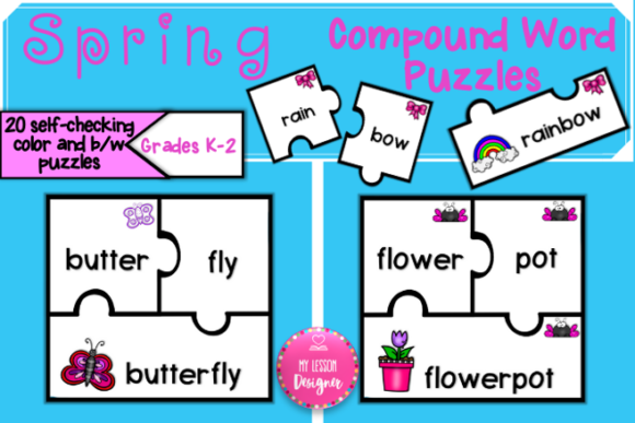 Spring Compound Word Puzzles Graphic 1st grade By My Lesson Designer