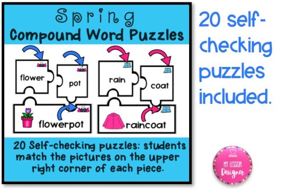 Download Free Spring Compound Word Puzzles Graphic By My Lesson Designer for Cricut Explore, Silhouette and other cutting machines.