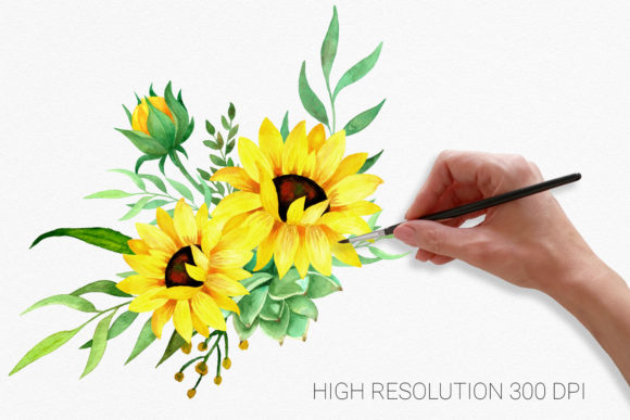 Sunflowers Watercolor Clipart Graphic Illustrations By RedDotsHouse - Image 2