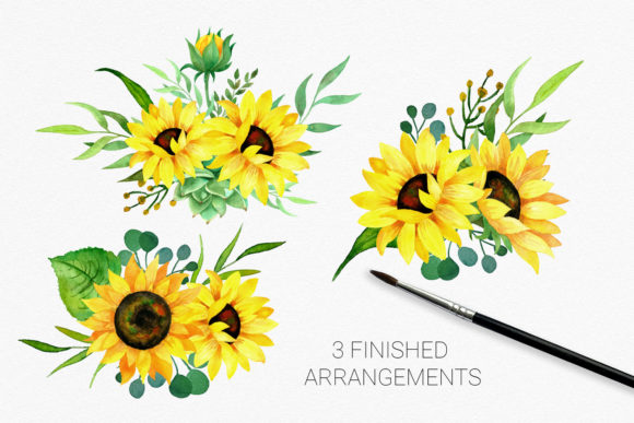 Sunflowers Watercolor Clipart Graphic Illustrations By RedDotsHouse - Image 3
