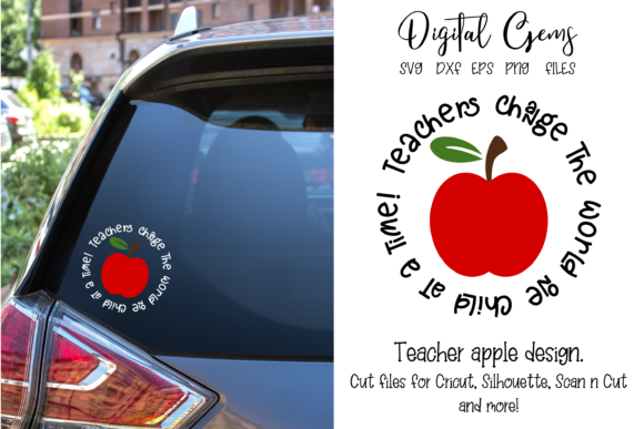 Download Free Teacher Apple Design Graphic By Digital Gems Creative Fabrica for Cricut Explore, Silhouette and other cutting machines.