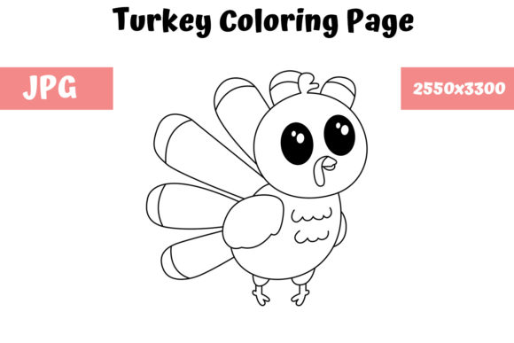 Print on Demand: Turkey Coloring Book Page for Kids Graphic Coloring Pages & Books Kids By MyBeautifulFiles
