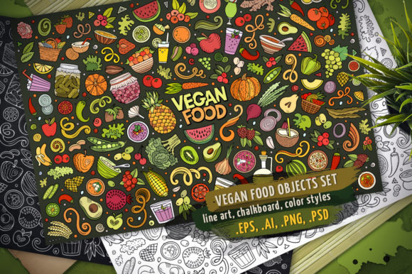 Vegan Food Doodle Objects & Elements Set Graphic Objects By BalabOlka