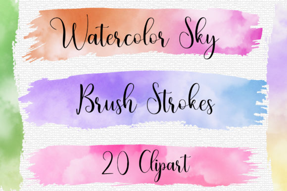 Watercolor Sky Brush Strokes Clip Art Graphic Backgrounds By PinkPearly