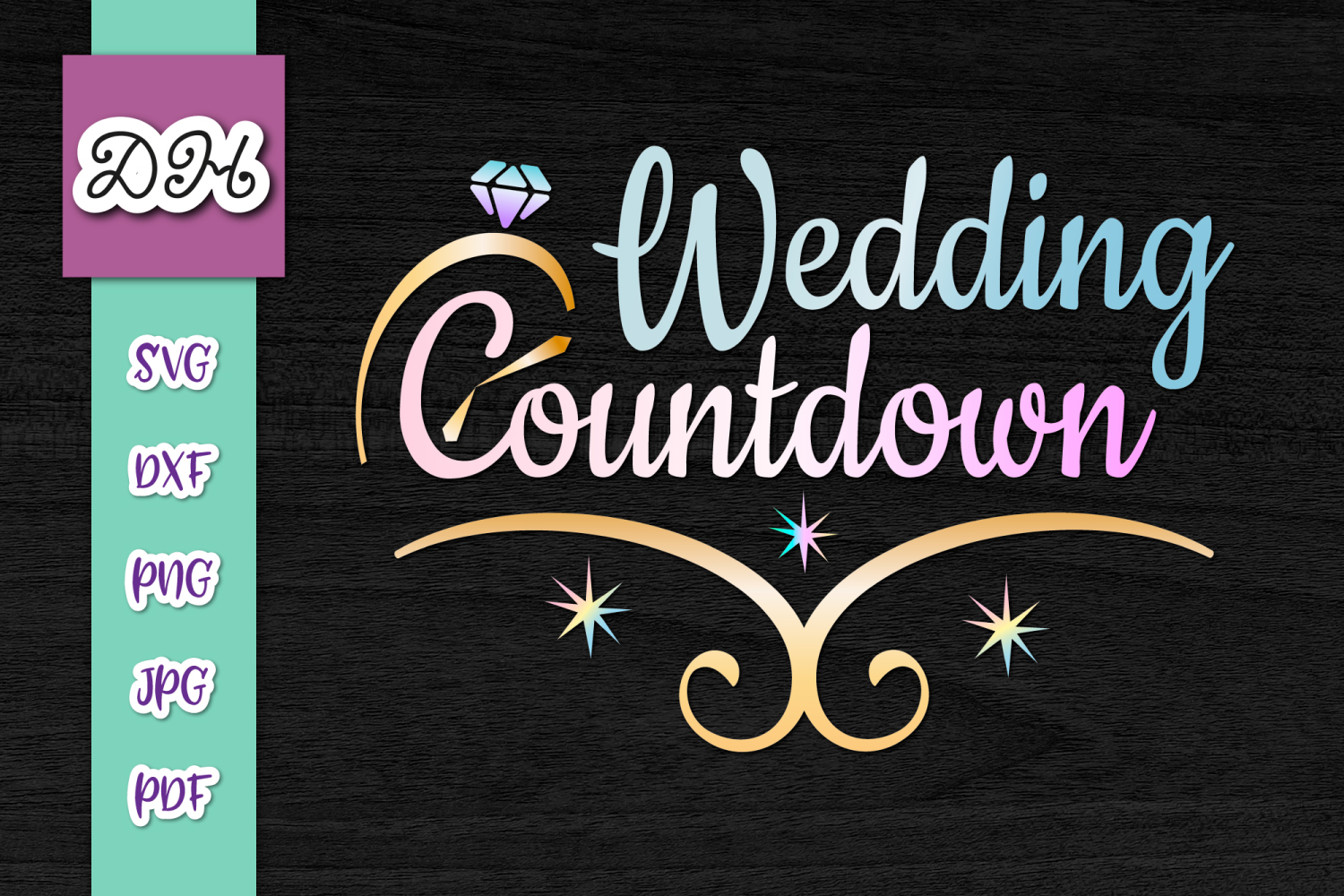 Download Free Wedding Countdown Bachelorette Print Cut Graphic By Digitals By for Cricut Explore, Silhouette and other cutting machines.