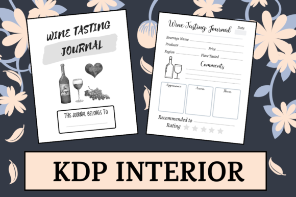 Print on Demand: Wine Tasting Journal | KDP Interior Graphic KDP Interiors By Hungry Puppy Studio